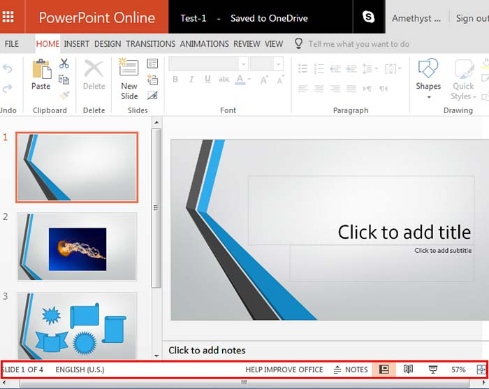 status bar in powerpoint online