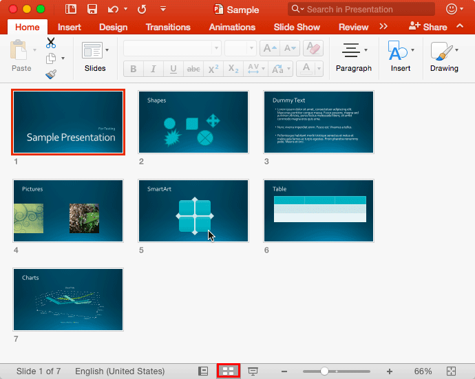Slide Sorter View in PowerPoint 2016 for Mac