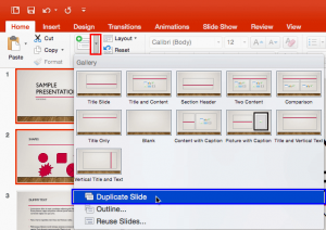 Duplicate Slides in PowerPoint 2016 for Mac