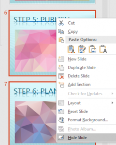 Hide/Unhide Slides in PowerPoint 2016 for Windows