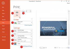 Print Option in Backstage View in PowerPoint 2013 for Windows