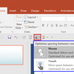 Touch/Mouse Mode in PowerPoint 2016 for Windows