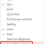 Touch/Mouse Mode in PowerPoint 2013 for Windows