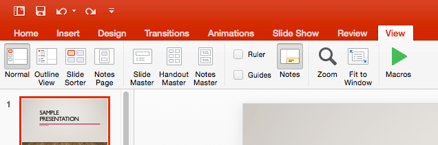 Views in PowerPoint 2016 for Mac