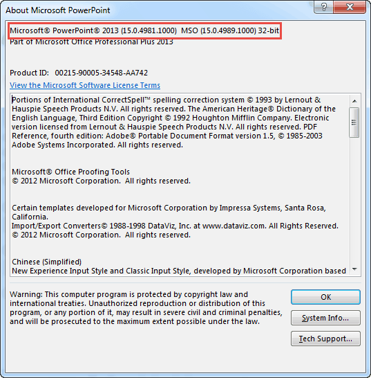 Identify 32-Bit or 64-Bit in PowerPoint and Office 2013 for Windows
