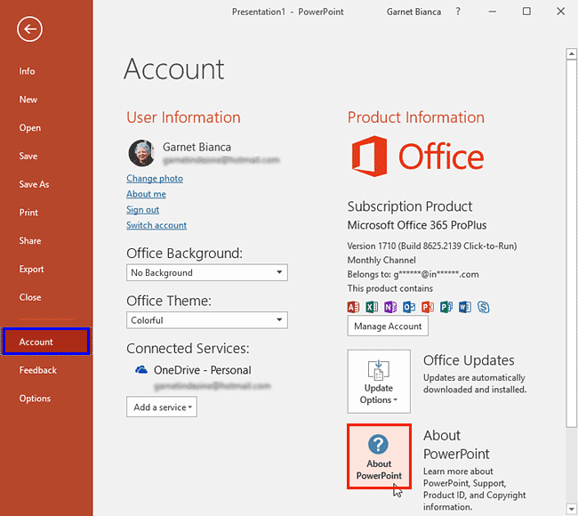 Identify 32-Bit or 64-Bit in PowerPoint and Office 2016 for