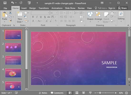 Normal View in PowerPoint 2016 for Windows
