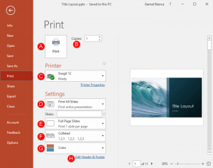 Print Option in Backstage View in PowerPoint 2016 for Windows
