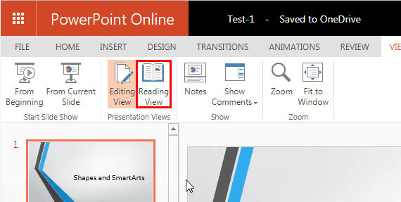 Reading View in PowerPoint Online