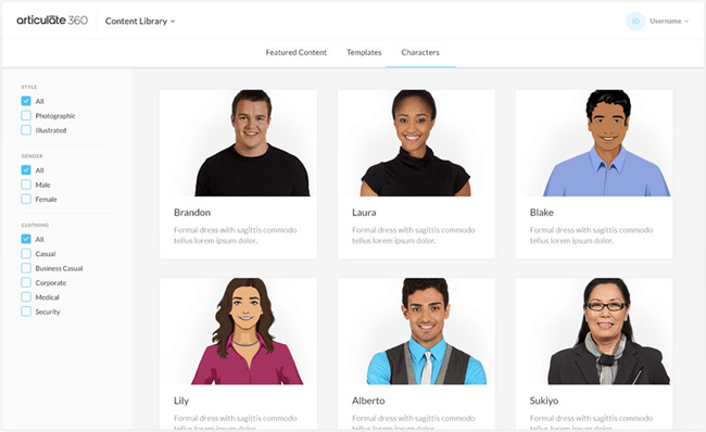 Character Library from Articulate