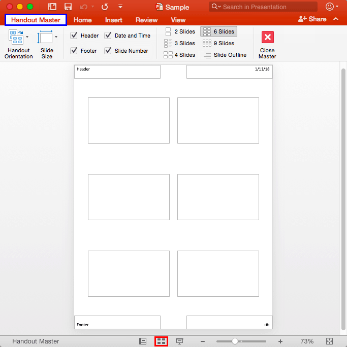 Handout Master View in PowerPoint 2016 for Mac