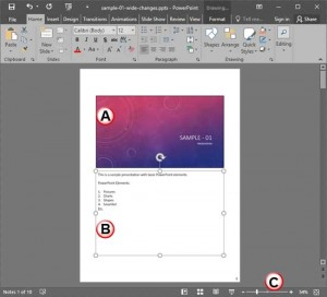 Notes Page View in PowerPoint 2016 for Windows