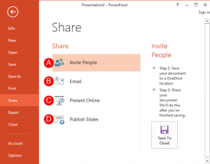 Share Option in Backstage View in PowerPoint 2013 for Windows