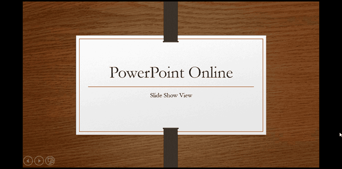 Slide Show View in PowerPoint Online