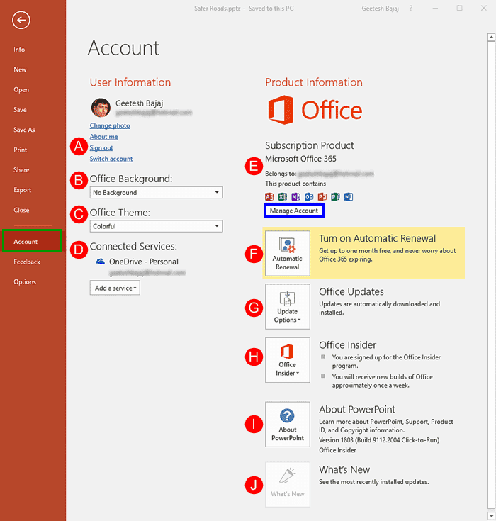 Account Option in Backstage View in PowerPoint 2016 for Windows