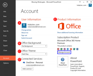Account Option in Backstage View in PowerPoint 2013 for Windows