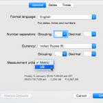 Change the Unit Of Measurement in Mac OS X