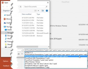File Types That Can be Opened in PowerPoint 2016 for Windows