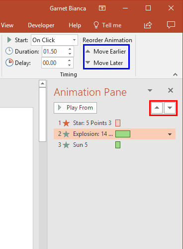 Reorder Animations in PowerPoint 2016 for Windows