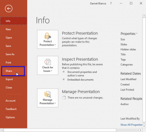 Share Option in Backstage View in PowerPoint 2016 for Windows