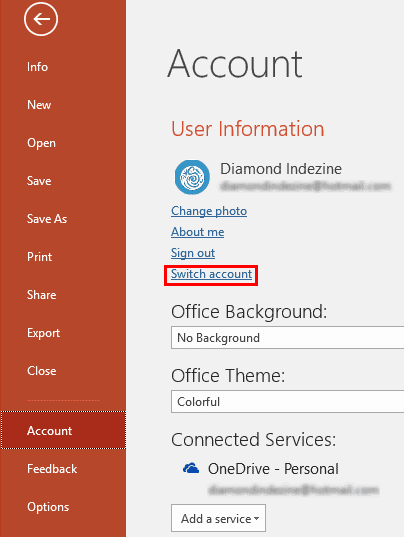 Sign Out and Switch Accounts in PowerPoint 2016 for Windows