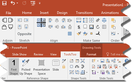 The ToolsToo ribbon tab in PowerPoint 2016