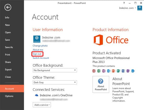 Sign Out and Switch Accounts in PowerPoint 2013 on Windows 10 and 8