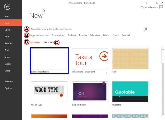 New Tab Options in Backstage View in PowerPoint 2013 for Windows