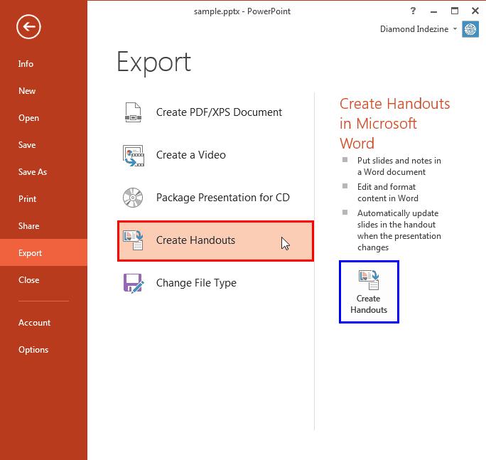 Export Word Handouts in PowerPoint 2013 for Windows