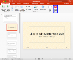 Custom Backgrounds for Slide Master and Layouts in PowerPoint 2016 for Mac