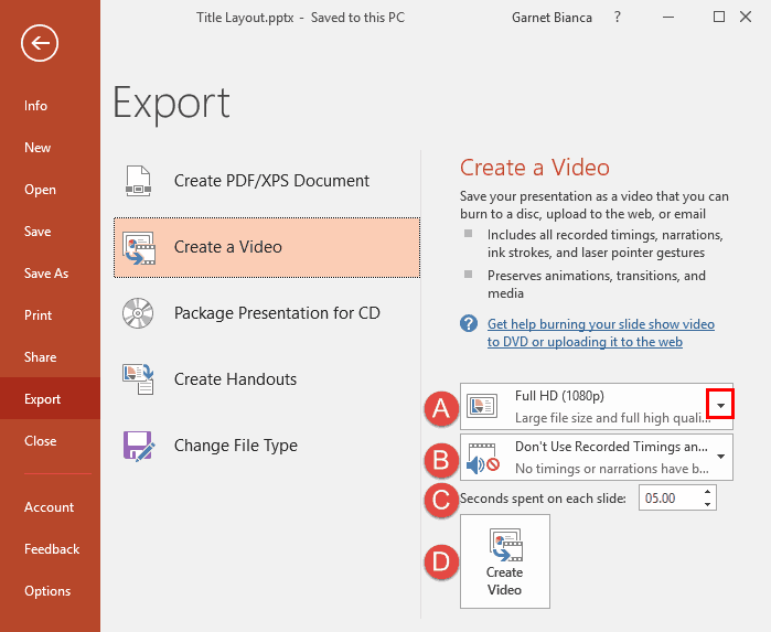 Export a Presentation to a Video Clip in PowerPoint 2016 for Windows