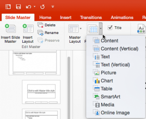 Inserting New Placeholders in Slide Layouts in PowerPoint 2016 for Mac