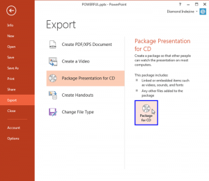 Package a Presentation to a CD or Folder in PowerPoint 2013 for Windows