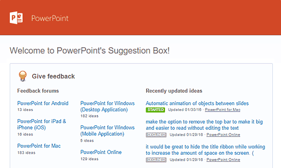 UserVoice at Microsoft PowerPoint Facility