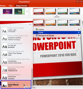 Theme Fonts in PowerPoint 2016 for Mac
