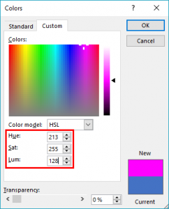 Working with HSL Colors in PowerPoint 2019 for Windows
