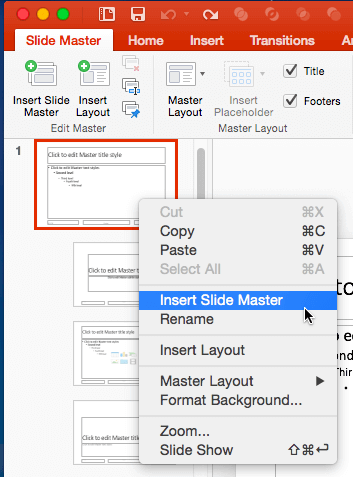Add and Rename Slide Masters in PowerPoint 2016 for Mac