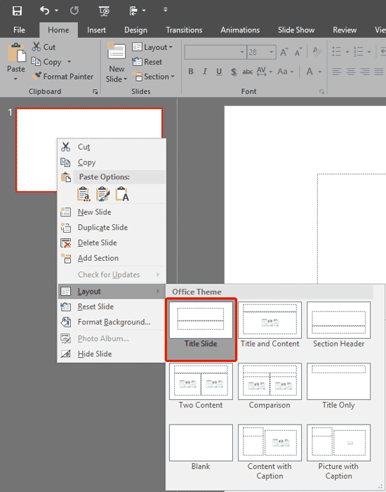 Changing Slide Layout in PowerPoint 2016 for Windows