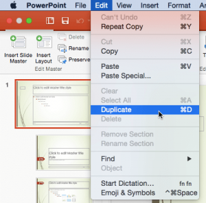 Duplicate Slide Masters in PowerPoint 2016 for Mac