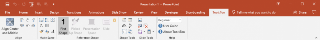 ToolsToo 7.2 Ribbon with UI mode set to Beginner