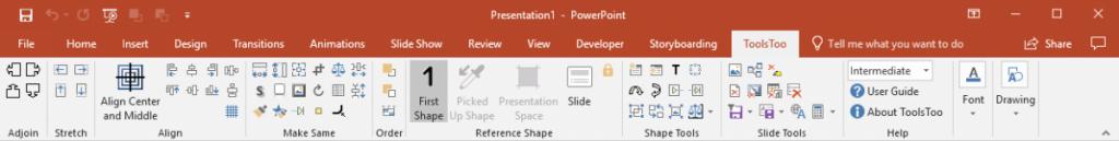 ToolsToo 7.2 Ribbon with UI mode set to Intermediate