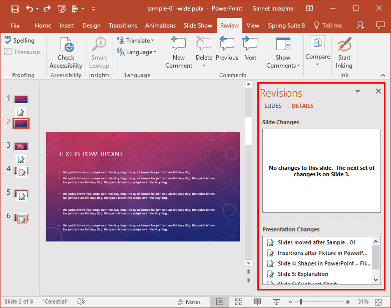 Comparing and Merging Presentations in PowerPoint 2016 for Windows