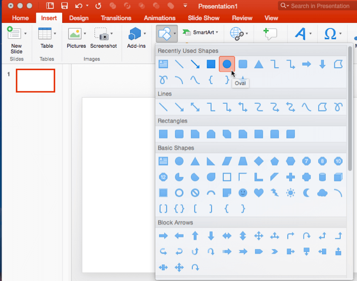 Insert Shapes in PowerPoint 2016 for Mac