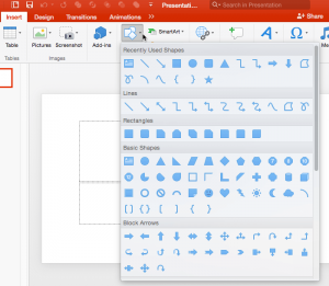 Types of Shapes in PowerPoint 2016 for Mac