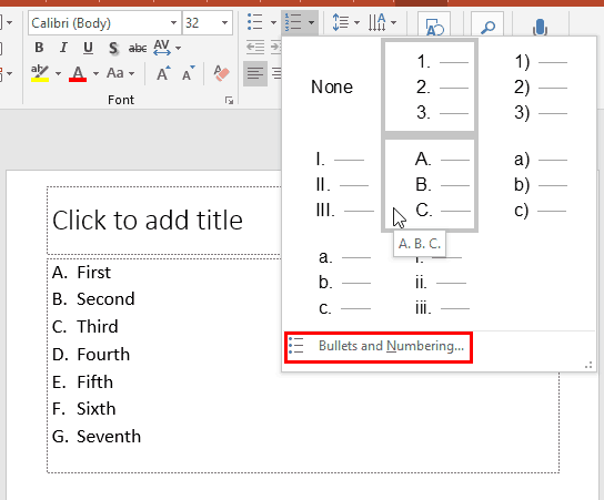 Change the Numbered List Style in PowerPoint 2016 for Windows