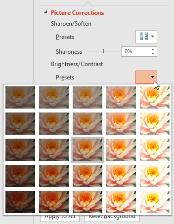 Corrections and Color Options for Picture Backgrounds in PowerPoint 2016 for Windows