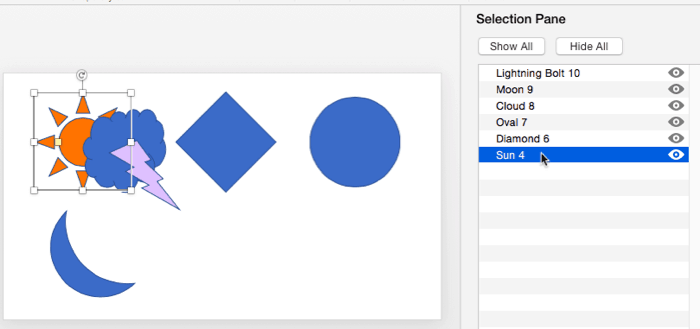 Select, Deselect, View, and Hide Shapes Using the Selection Pane in PowerPoint 2016 for Mac