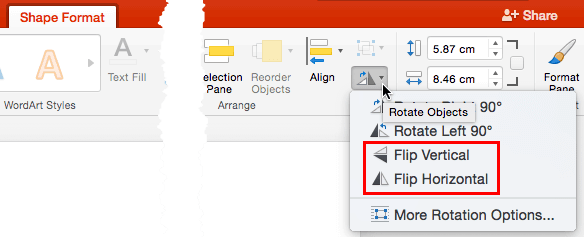 Flip Shapes in PowerPoint 2016 for Mac