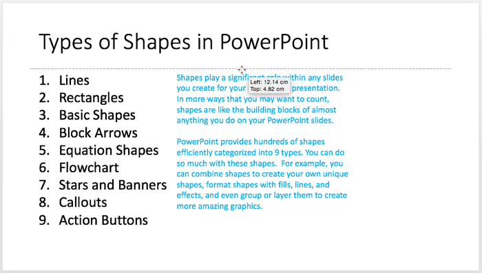 Move Text Boxes on a Slide in PowerPoint 2016 for Mac