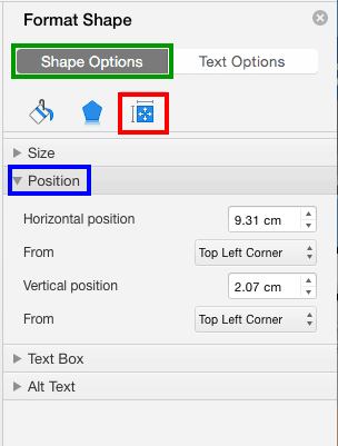 Reposition Text Boxes in PowerPoint 2016 for Mac